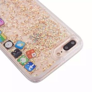 New Iphone6 7 Dynamic Liquid Glitter Gold App Case